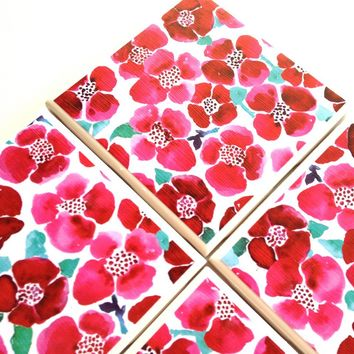 Red Flower Coasters, Poppies Ceramic Tiles, Summer Floral, Table Drink Set - Handmade Crafts by Queen of De Tile