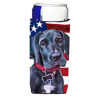 Black Great Dane Puppy USA Patriotic American Flag Ultra Beverage Insulators for slim cans LH9544MUK