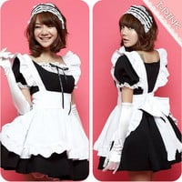 Sexy Japan Blk Cosplay Halloween Fancy Dress Uniform Ruffle Lolita Maid Outfit