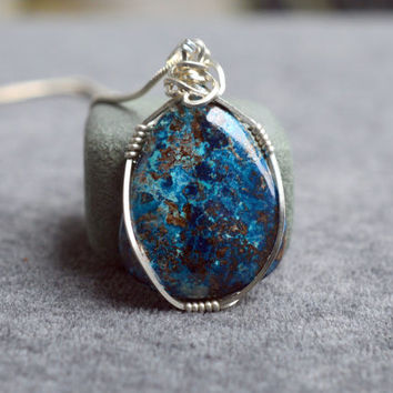 Azurite pendant pear shape sterling silver wire wrapped with silver plated necklace