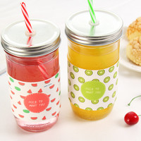 Cute Creative Straw Insulation Glass Juice Cups Coffee Mugs Mason Bottle With Holster