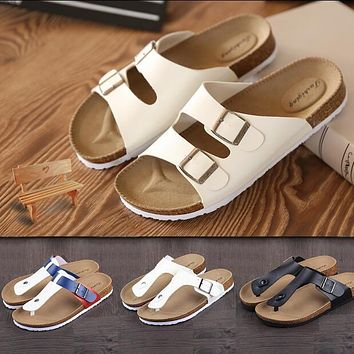 Size 35-46 Lovers Casual Sandals Fashion cork slippers Summer Woman beach slippers Flats Women Shoes