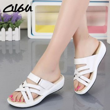 O16U Women Shoes Leather flat Sandals Low Heel Wedges Open Toe Platform ladies gladiator sandals