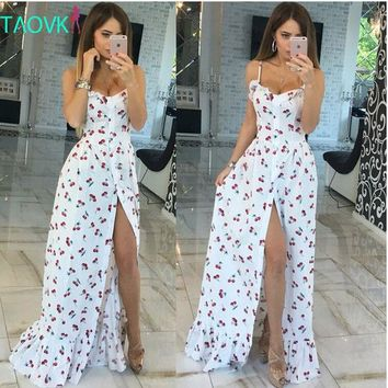 VONE2B5 Russian famous TaoVK fashion 2016 summer women long Cherry printing white empire strapless floor length dresses