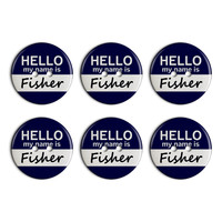 Fisher Hello My Name Is Plastic Resin Button Set of 6