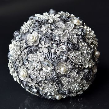 1pc/lot Gorgeous Crystal Luxury Bling Wedding Bouquet Sparkle Brooch Bouquet for wedding