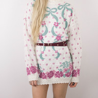 Vintage Floral Sweater Shift Dress