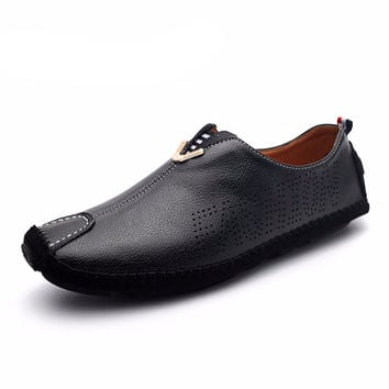 Leather Boat Shoes Male