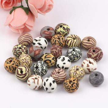 100Pcs Mix Design 12x8mm Oblate Fimo Polymer Clay Beads Fit For Bracelet and Necklace Jewelry Accessories
