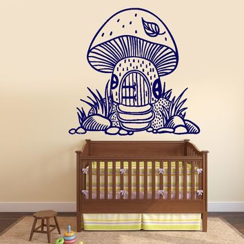 Wall Vinyl Decal Mushrooms House Fairy Tale Nursery Decor Unique Gift z3797