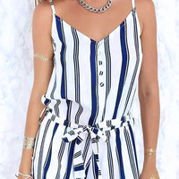 Striped Spaghetti Strap Belted Romper