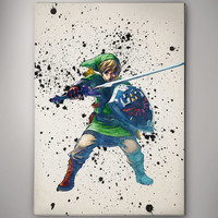 Link Skyward Shield Legend of Zelda Game Watercolor Poster Gift Art  No157