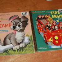 A Little Golden Book SCAMP AND THE FIRE ENGINE BOOK Children's