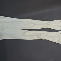 1960s White Opera Gloves, size 6-1/2, 21-3/4 inches Long Vintage Nylon Dress Gloves, Pearl Buttons