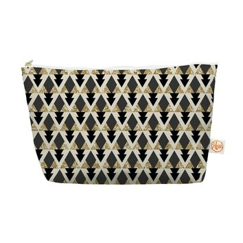 "Kess InHouse Everything Bag, Tapered Pouch, Nika Martinez ""Glitter Triangles in Gold and Black"" Geometric, 8.5 x 4 Inches (MM1045BEP03)"
