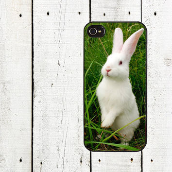 White Bunny Rabbit iPhone Case - for iphone 4,4s & iphone 5 - Easter