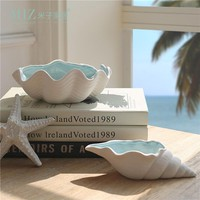 Miz 1 Piece Ceramic Storage Box Craft Shell Jewelry Organizer Desk Accessory Ashtray Home Decoration