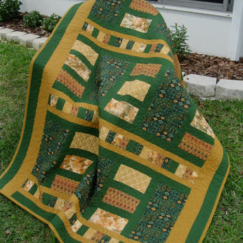"A Little Southwest Lap Quilt -  54"" x 74"" - Green/Golds -  Sandy Gervais Late Bloomer Collection - Modern - SALE"
