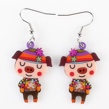 Drop Pig Earrings Acrylic Big Long Danlge Earrings Charm Animal New Fashion Jewelry For Women Girl  Accessories