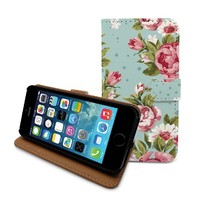 "Beanbeancase Vintage Retro Flower Rose Wallet Flip Cover Leather Case for iPhone 6 Plus 5.5"" (E06) (Black)"