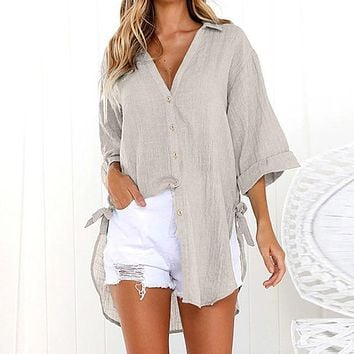 Long Loose Button Front Side Tie Blouse