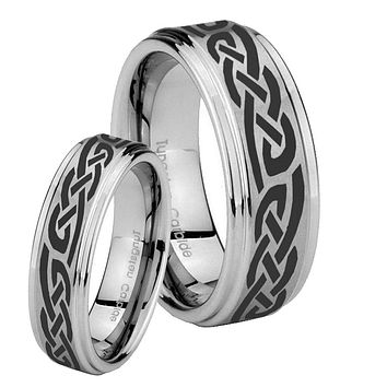 His Hers Celtic Knot Infinity Love Step Edges Brushed Tungsten Men's Wedding Band Set