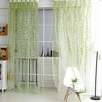 2017 Hot Sale Green Purple Sheer Curtain Willow Leaf Tulle Window Voile Curtains for Living Room Kitchen 1x2m Home Textile CL502
