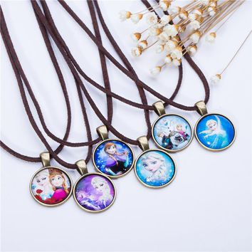 Cute Cartoon character Jewelry Glass Cabochon  Brown Leather Chain Necklace Pendants Fashion Collares Women Girl Children Gift