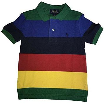 Polo Ralph Lauren Boys Striped Cotton Mesh Short Sleeve Polo Shirt (3T)