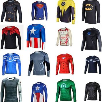 BERTHATINA 2016 Superhero Superman/Batman/Spiderman Men Long Sleeve T Shirt Compression Tights Tops Fitness Exercise T-shirt