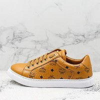 Mcm Angel Visetos Classic Khaki Leather Sneakers