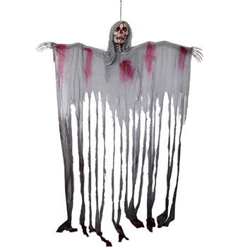 Halloween Skull Hanging Reaper Printing Hanging Ghost Door Curtain Haunted House Escape Horror props Decorations