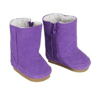 Doll Boots in Purple Suede fit for American Girl Dolls, Zipper Opening and White Sherpa Fur Lining Purple Doll Boots
