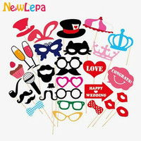 Mustache Lip Glass Mask For Fun Favors Photobooth Photocall Wedding Photo Booth Props Party Decorations Supplies