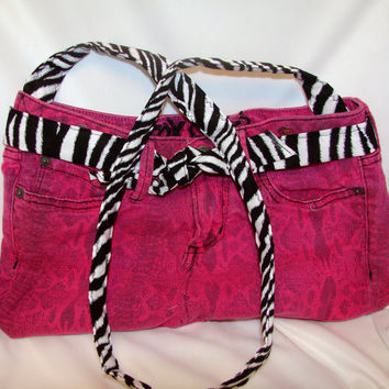 Denim Purse Hot Pink and Zebra