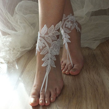 White lace barefoot sandals Beach wedding barefoot sandals, Flexible wrist lace sandals, White barefoot sandals