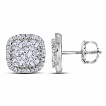 10kt White Gold Women's Round Diamond Framed Square Cluster Screwback Earrings 1.00 Cttw - FREE Shipping (USA/CAN)