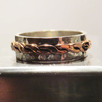 Hammered Spinner Ring Made From Sterling Silver & Copper - Unisex Sterling silver Ring - Handmade Jewelry - Made to order