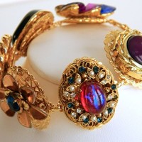 Recycled Jewelry Bracelet Made With Red and Blue Vintage Earrings