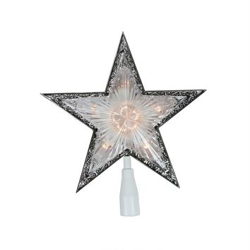 "10"" Lighted Clear and Silver Crystal Star Christmas Tree Topper - Clear Lights"