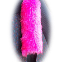 Hot barbie pink fluffy furry fuzzy cute car seatbelt pads strap girly girl