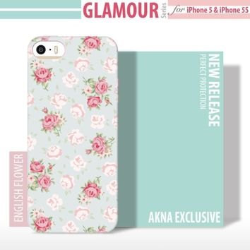5s Teen Girl Cases, Akna Glamour Series [Flexible TPU]*[High Impact]*[Lovely Floral Girl Case] Soft Back Cover for iPhone 5 5S - [Baby Flowers](U.S)