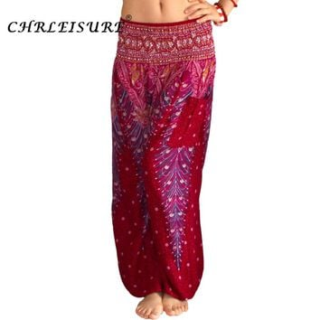 CHLEISURE 10 Colors Summer Beach Bohemian Pants Women High Waist Harem Pants Plus Size Loose Print Bloomers Trousers Women