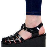 DON'T BE JELLY BLACK PLATFORM SANDAL