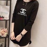 """Chanel"" Women Casual Simple Logo Letter Print Long Sleeve Irregular T-shirt Tops"