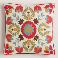 Red Suzani Embroidered Throw Pillow - World Market