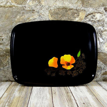 Mid Century Couroc Poppy Flower Tray