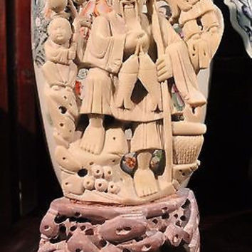 """Beautiful Chinese Stone Hand Carved Fisherman with two Children and Peaches 12"""""""