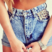 High Waisted Denim Shorts - Studded Pocket