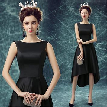 Amazing Hi Lo Gowns Bridesmaid Dress Maid of Honer wedding Guest dress Scoop Tank Satin Homecoming Bridesmaid Dresses 2017